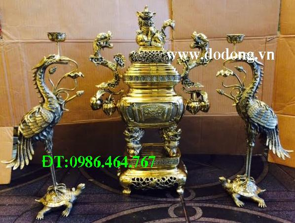 Bộ lư phù hợp cho bàn thờ bề ngang 1m 35 đến 1m6 ( Ước lượng tủ thờ tham khảo)