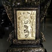 Bài vị bằng đồng chạm đồng vàng nguyên chất đường nét hoa văn đẹp mẫ mới ba9f vj được thờ cúng gia tiên  hay nhà thờ họ mang ý nghĩa lòng thành kính đến tổ tiên