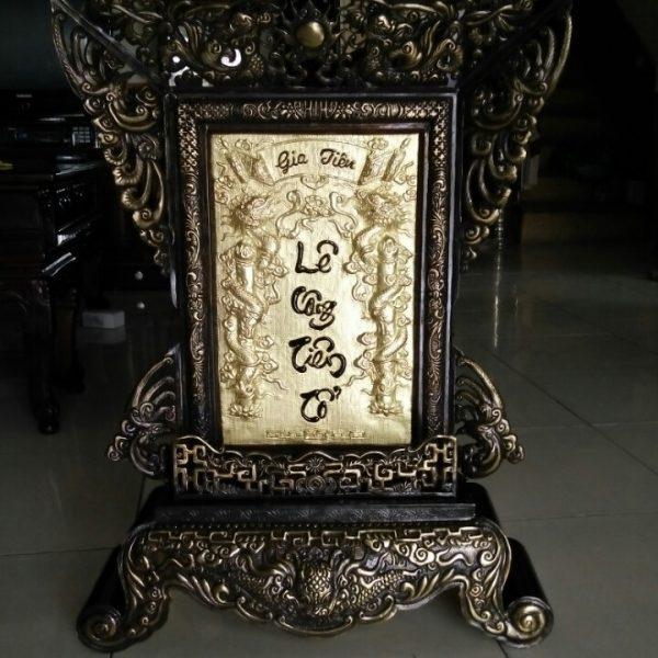 Bài vị bằng đồng chạm đồng mỹ nghệ thủ công đường nét hoa văn tinh xảo đường nét đẹp thờ cúng mang ý nghĩa tâm linh của người việt bài vị thờ cúng