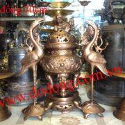 Bộ đỉnh thờ song long trầu nguyệt 70cm - bộ đồ thờ cúng bằng đồng đúc thủ công rồng nổi sắc nét