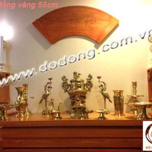 Bộ đỉnh đồng thờ cúng hàng Vĩnh tiến số 3 cao 50cm gồm: 1 đỉnh