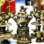 Bộ đồ thờ cúng bằng đồng tam khí thờ gia tiên - đồ thờ cúng bằng đồng chạm khảm đồng đỏ