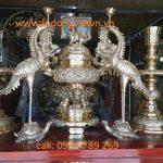 Bộ ngũ sự đồng dạpha đúc đồng vàng cao cấp đường nét đẹp thờ cúng gia tiên phù hợp bàn thờ 197cm