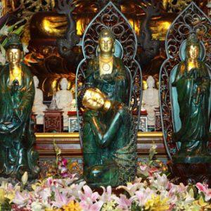 Bộ tam thế phật đồng dát vàng 9999 thờ uy tín - nhận sản xuất các mẫu tượng phật đồng