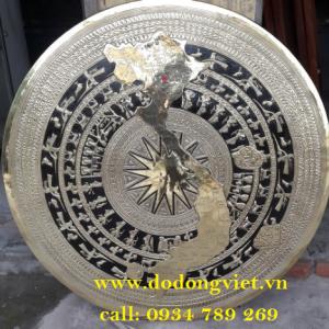 mặt trống đồng gò nổi hình s việt nam chạm đồng vàng nguyên tấm đường nét dẹp trang trí phòng thờ bác ý  nghĩa và sang trọng mặt trống đồng