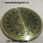 Mặt trống đồng ăn mòn làm chất liệu đồng vàng nguyên khối đồng dày 1ly đường nét hoa văn đẹp theo  mẫu cổ truyền thống mặt trống đồng làm quà tặng ý nghĩa trống đồng việt nam