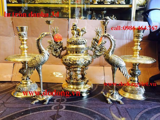 Bộ Lư thờ cúng đại phát thờ cúng gia tiên bộ lư đồng đại phát đúc đồng vàng nguyên chất đúc công nghệ tinh xảo thờ phụng gia tiên trang trọng