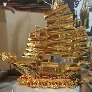Tượng thuyền bằng đồng phong thủy - đúc tượng thuyền quà tặng mạ vàng 24k đường  nét hoa văn tinh xảo làm quà tặng mừng tân gia mừng khai trương thuận buồm xuôi gió