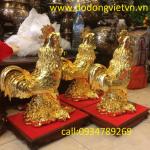 tượng gà bằng đồng mạ vàng 24k - địa chỉ bán tượng gà phong thủy hoá giải rất hiệu nghiệm tượng gà được đúc đồng vàng nguyên khối mang lại phong thủy cho người tuổi dậu