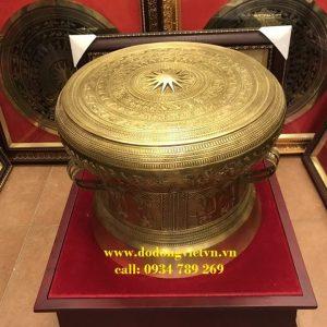 Trống đồng quà tặng được đúc đồng vàng nguyên khối đường nét hoa văn tinh xảo đường nét đẹp trang trí phòng khách phòng làm việc ý nghĩa và sang trọng