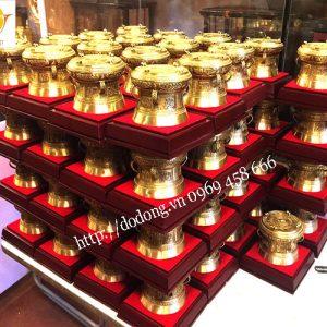 trông đồng quà tặng cao cấp được đúc đồng vàng nguyên khối đường nét hao văn đẹp