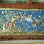tranh đồng hoa khai phú quý chạm đồng  lá nguyên tấm đường nét rất sác xảo mang lại cho không gian phòng khách sang trọng và ý nghĩa hơn