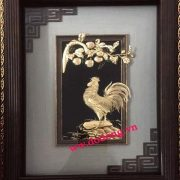 Tranh gà bằng đồng dát vàng 24k đường nét hoa văn tinh xảo làm quà tặng bạn bà người thân làm món qùa lưu niệm năm đinh dậu