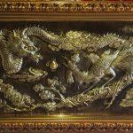 tranh đồng rồng phượng chạm đồng lá nguyên chất  đường nét hoa văn tinh xảo phong thủy phòng khách ý nghĩa và sang trọng