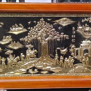 Tranh vinh quy bái tổ bằng đồng - tranh đồng - vinh quy bái tổ chạm đồng mỹ nghệ thủ công