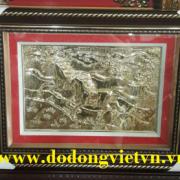 Tranh đồng song mã mạ vàng 24k chạm đồng mỹ nghệ thủ công đường nét hoa văn tinh xảo làm quà bướu tặng phong thủy cho người tuổi ngọ ý nghĩa và  sang trọng