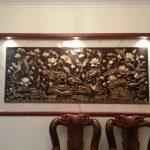 Bức tranh đồng Sen Hạc thể hiện sự thanh cao tinh khiết và sự sang trọng phù điêu hoa sen mang nét sống động tinh khiết trang trí phòng khách